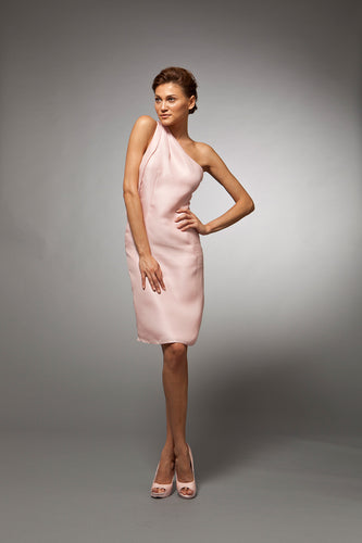 Noemie - Pink silk gazar cocktail dress