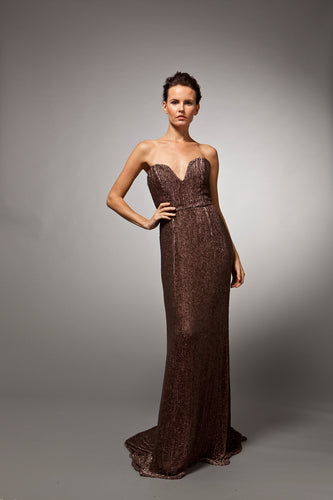 Estelle - Purple sequined strapless gown