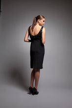 Emeline - Black silk crepe dress with sequined top