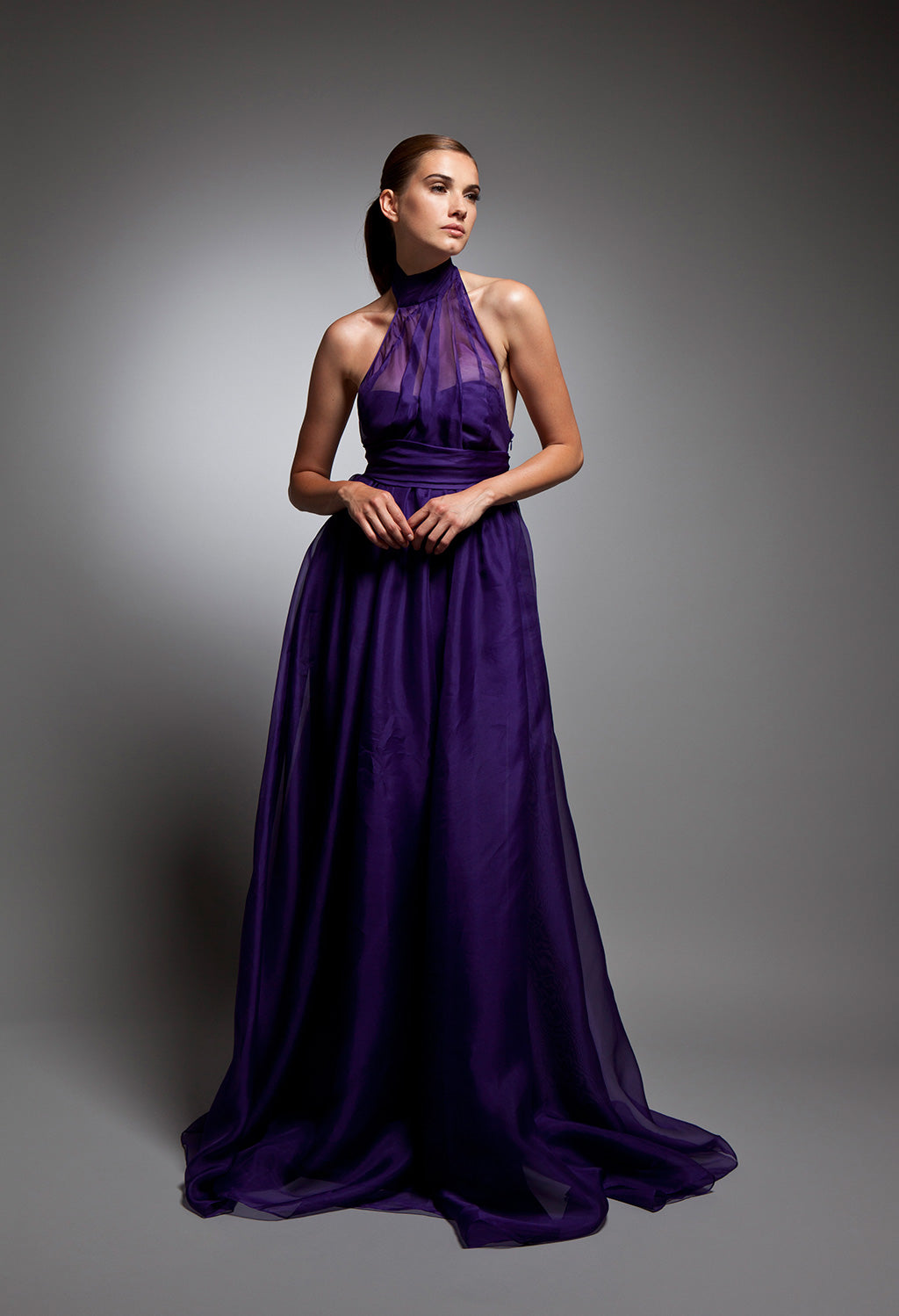 Helena - Vivid purple silk organza gown