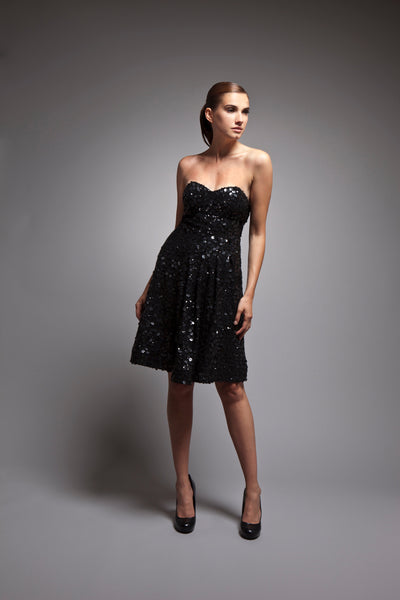 Juliane - Black sequined strapless cocktail dress