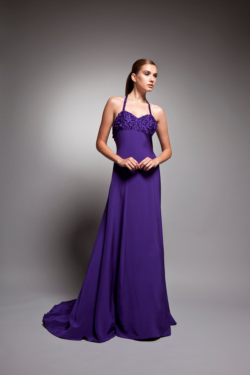 Luciana - Vivid purple embroidered sweetheart halter gown