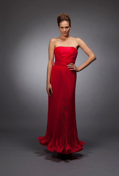 Samantha - Red pleated silk gazar gown