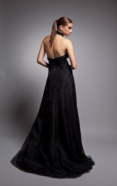 Sylvie (Sale) - Black silk crepe gown