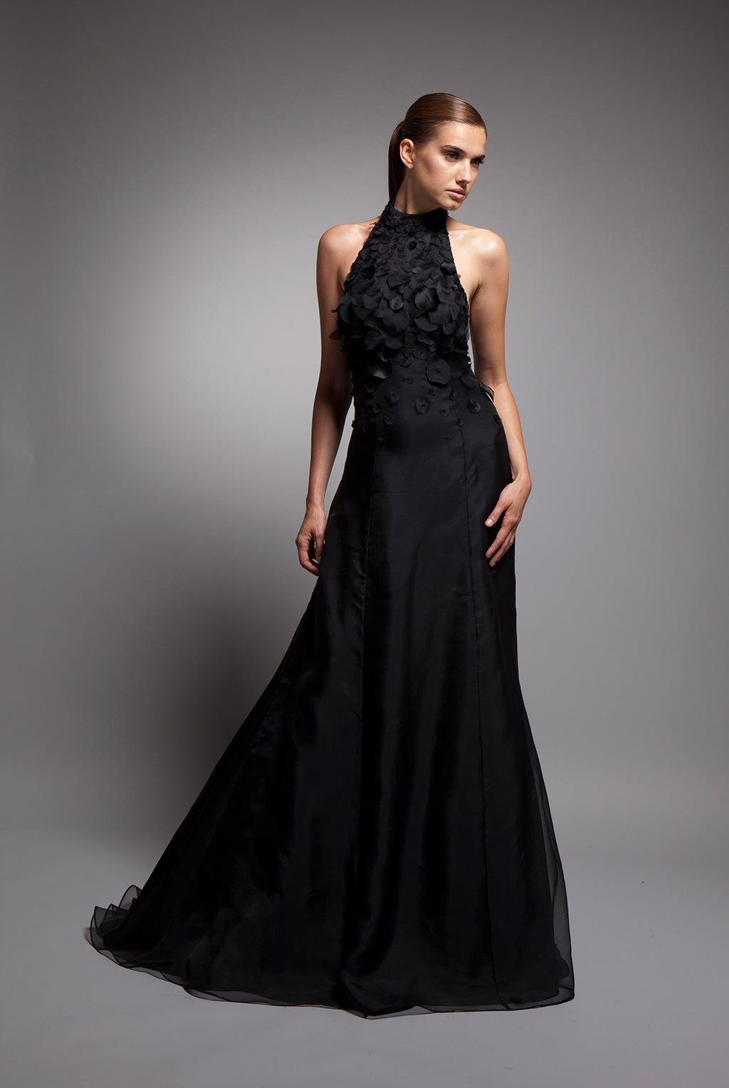 Sylvie - Black silk crepe gown