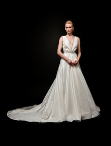 Antonia (Sale) - V-Neck Draped Taffeta Bridal Gown
