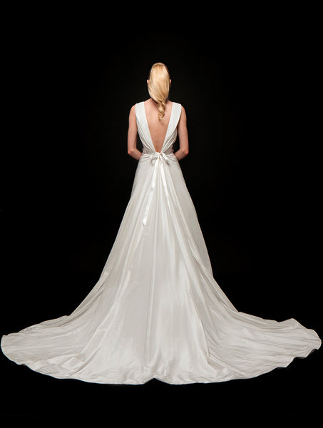Antonia - V-Neck Draped Taffeta Bridal Gown