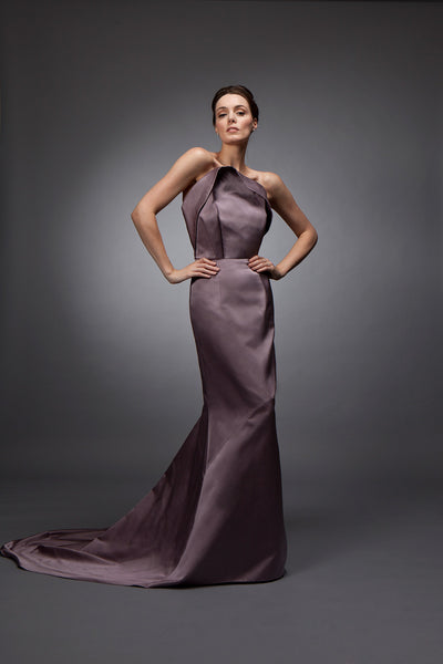 Vivienne (Sale) - Double faced satin sheath gown
