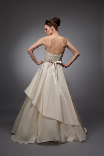 Alexandra (Sale) - Taffeta and Organza Draped Gown
