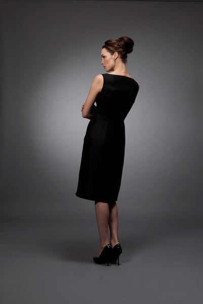 Rita - Black silk gazar cocktail dress