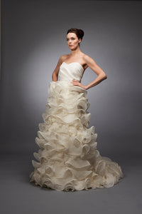 Gabriella - Silk Gazar and Organza Ruffle Gown