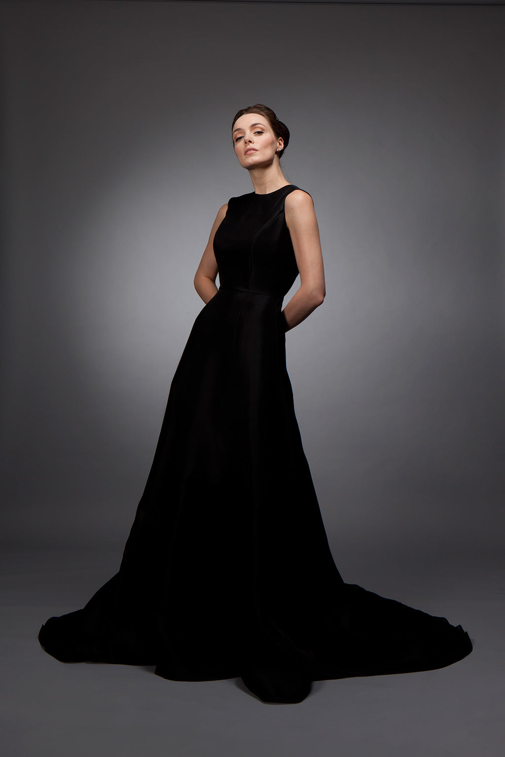Ruth - Black silk gazar gown