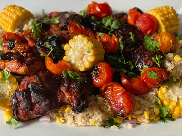Chicken and cherry tomatoes with rice