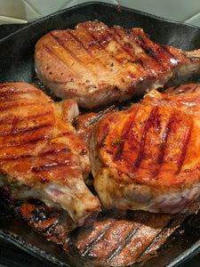 Pork chops marinated in Apple Balsamic Vinegar Glaze
