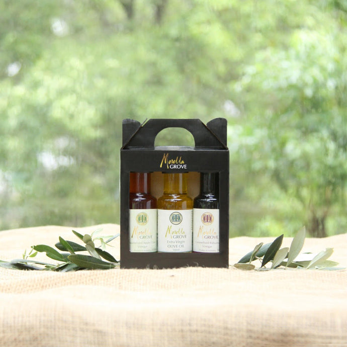 Caramelised Balsamic Vinegar + Extra Virgin Olive Oil + Caramelised Apple Cider Vinegar - 100ml Gift Pack 3x100ml