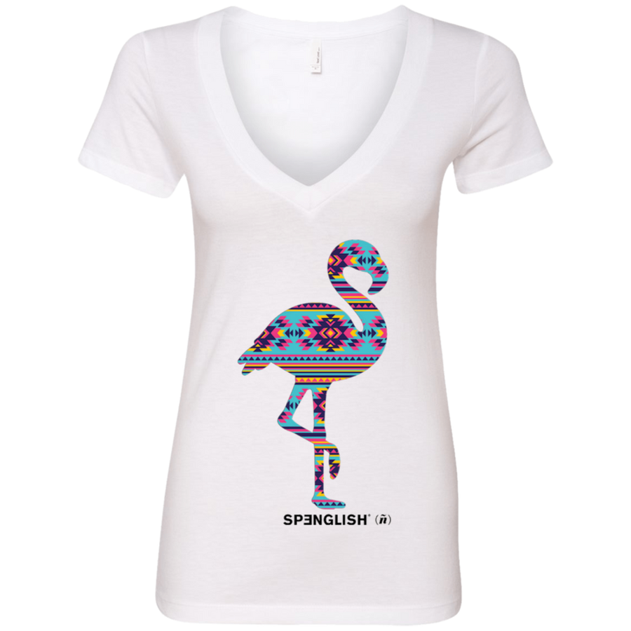 FLAMINGO AZTECA - Next Level Ladies' Deep V-Neck T-Shirt