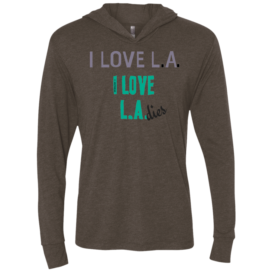 I HEART LAdies Unisex Triblend LS Hooded T-Shirt