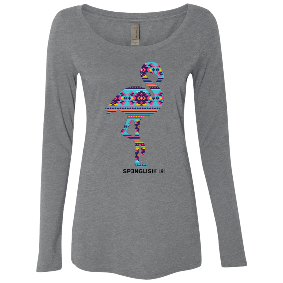 FLAMINGO AZTECA - Next Level Ladies' Triblend LS Scoop
