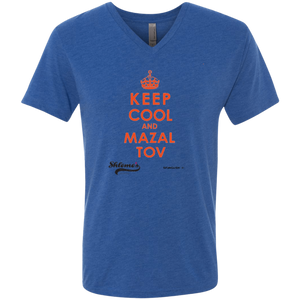 Keep Cool and Mazaltov - UNISEX Next Level Men's Triblend V-Neck T-Shirt