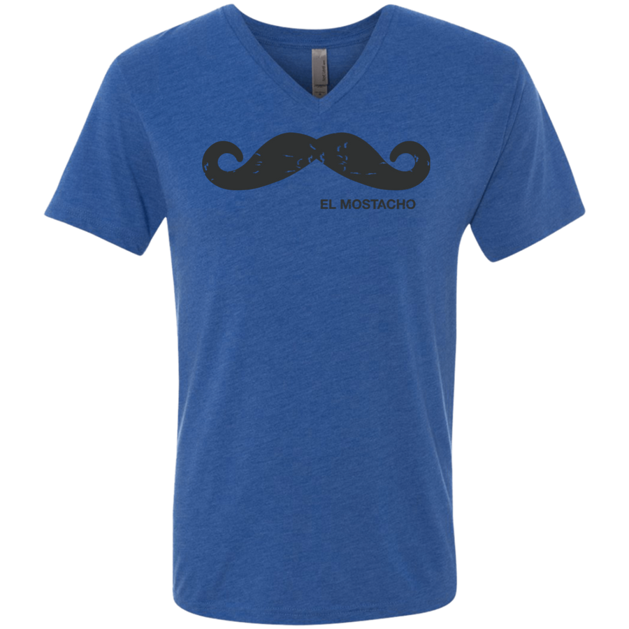 El Mostacho - UNisex Next Level Men's Triblend V-Neck T-Shirt