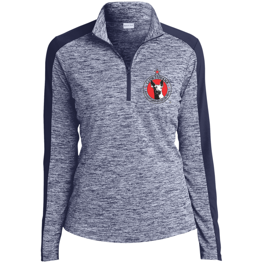 XOLOS - Ladies' Electric Heather Colorblock 1/4-Zip Pullover
