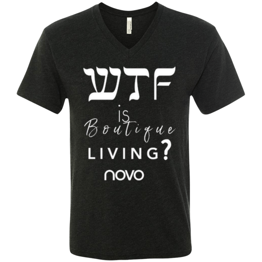 WTF IS BOUTIQUE LIVING NOVO - Next Level unisex Triblend V-Neck T-Shirt