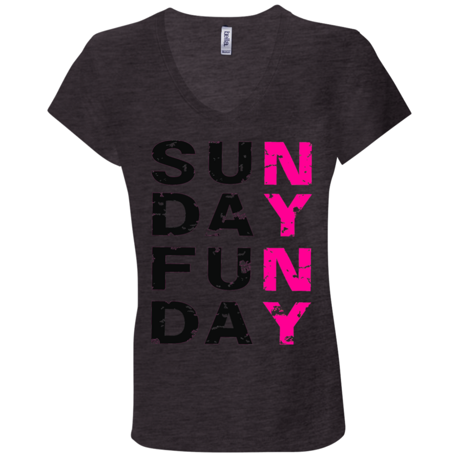 SUNDAY FUNDAY -  Bella + Canvas Ladies' Jersey V-Neck T-Shirt