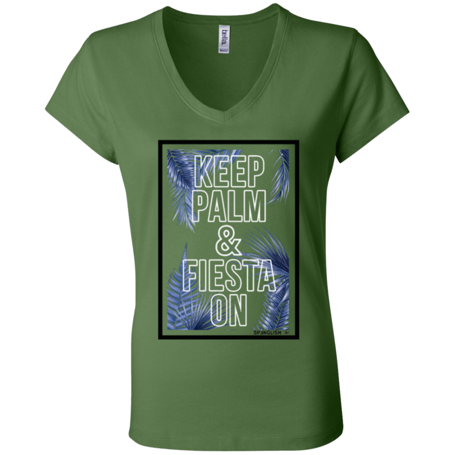 KEEP PALM AND FIESTA ON - Canvas Ladies' Jersey V-Neck T-Shirt