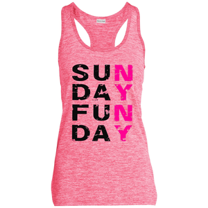 SUNDAY FUNDAY -  Sport-Tek Ladies' Moisture Wicking Electric Heather Racerback Tank