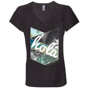 HOLA- Bella + Canvas Ladies' Jersey V-Neck T-Shirt
