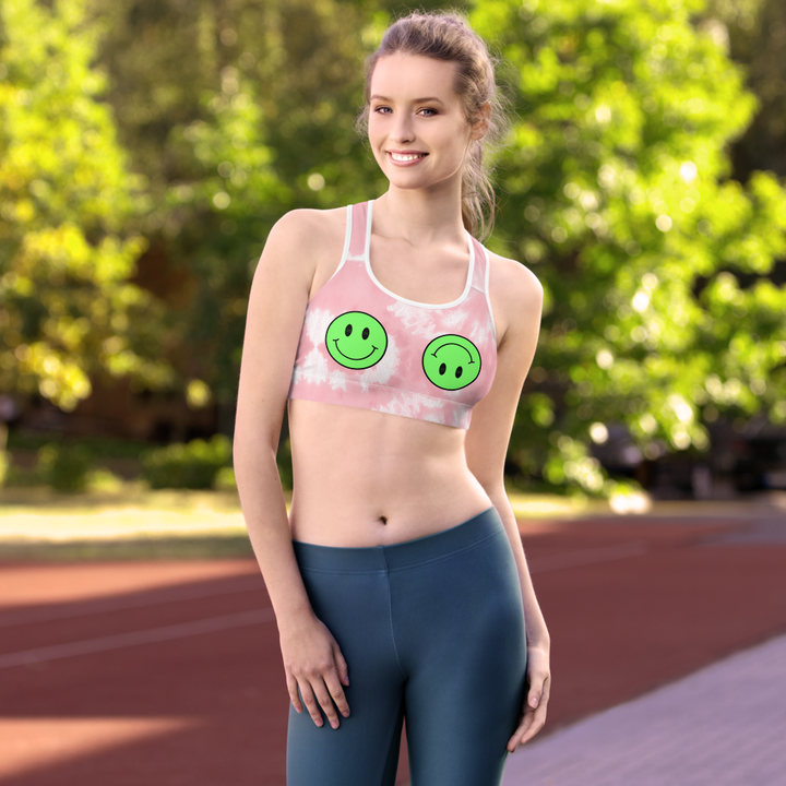 CL HAPPY FACE - Pink tie dye Padded Sports Bra