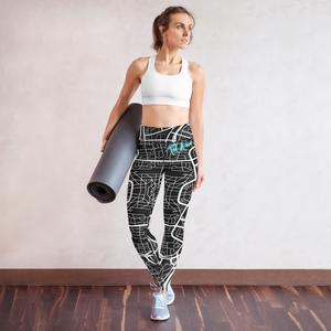 Tel Aviv Map hatzallah - Neon sign Yoga Leggings
