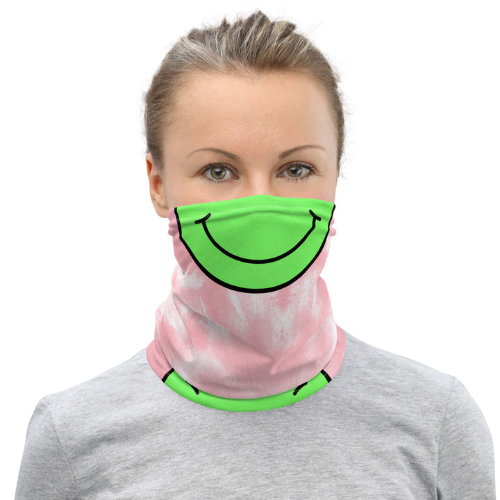 CL HAPPY FACE -  TIE DIYE PINK Neck Gaiter