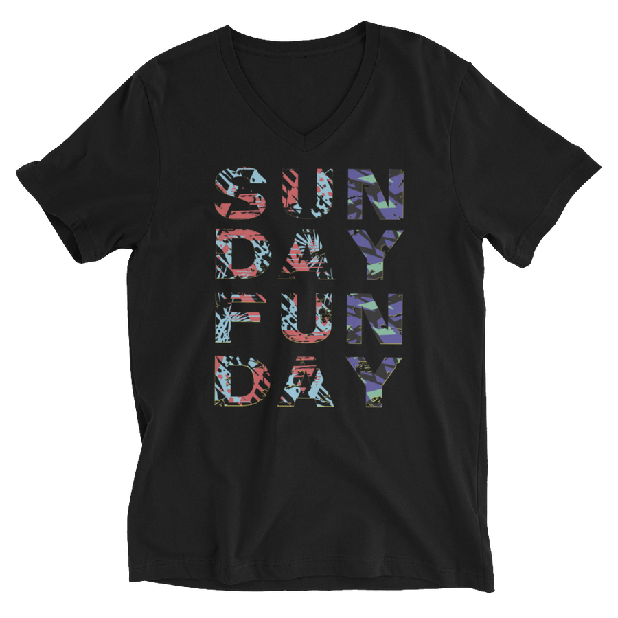 SUNDAY FUNDAY Unisex Short Sleeve V-Neck T-Shirt