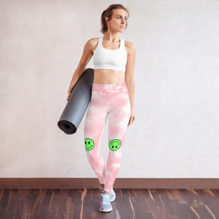 CL HAPPY FACE - Pink Tie Dye Yoga Leggings