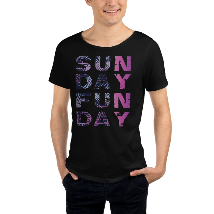 SUNDAY FUNDAY - Men's Raw Neck Tee Palmas neon tropical