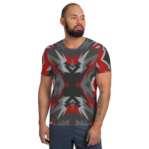 XOLO CALIENTE - All-Over Print Men's Athletic T-shirt black and red camo