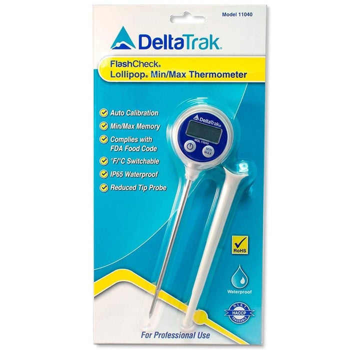 "DeltaTrak 11040: FlashCheck® Lollipop Min/Max Thermometer, 105mm (approx 4.1"") Probe - Anaum - Test and Measurement"