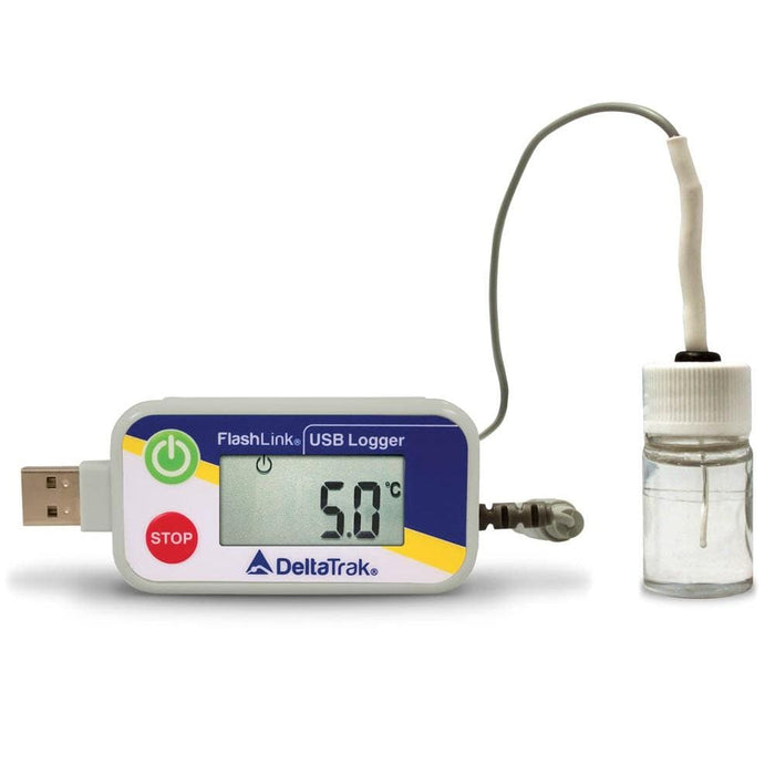DeltaTrak 20932: FlashLink Certified Vaccine Data Logger with Glycol Bottle - Anaum - Test and Measurement