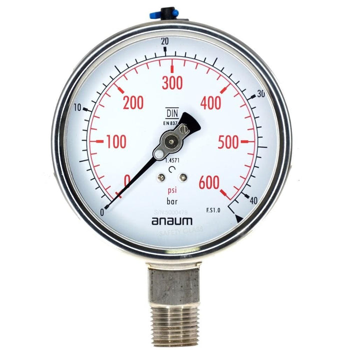 "Anaum SS3020 : Pressure Gauge - 100mm dia, 1/2"" NPT, 0~40bar - Anaum - Test and Measurement"