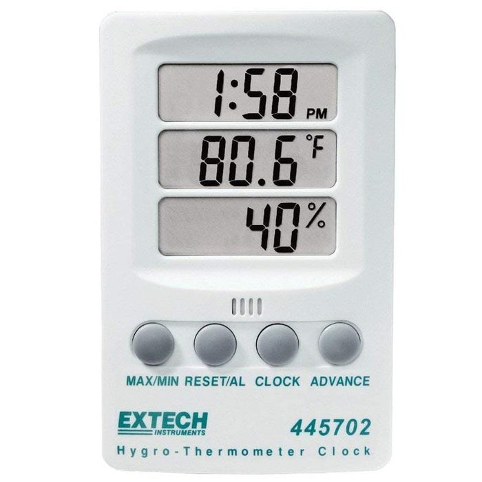 Extech 445702: Hygro-Thermometer Clock - Anaum - Test and Measurement