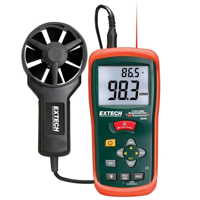Extech AN200: CFM/CMM Mini Thermo-Anemometer with built-in InfaRed Thermometer - Anaum - Test and Measurement