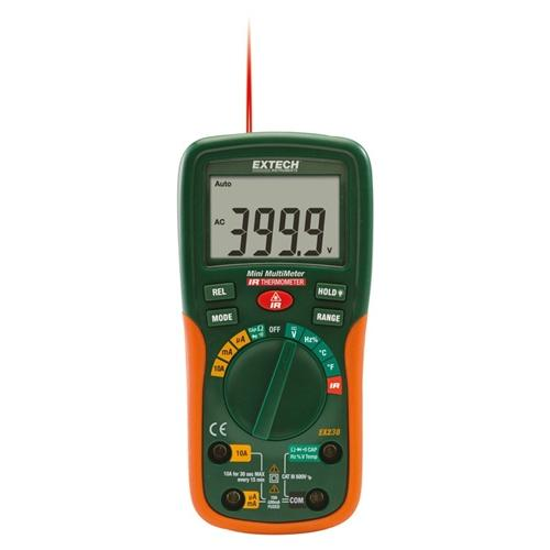 Extech EX230: 12 Function Mini Digital MultiMeter with IR Thermometer