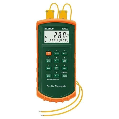 Extech 421502: Type J/K, Dual Input Thermometer with Alarm - Anaum - Test and Measurement