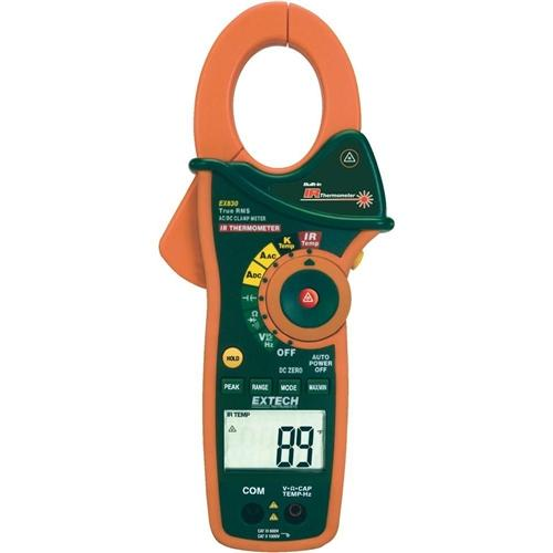 Extech EX820: 1000A True RMS AC Clamp Meter with IR Thermometer