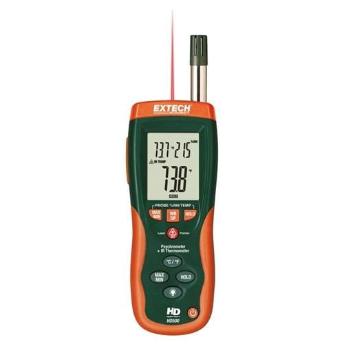 Extech HD500: Psychrometer with InfraRed Thermometer