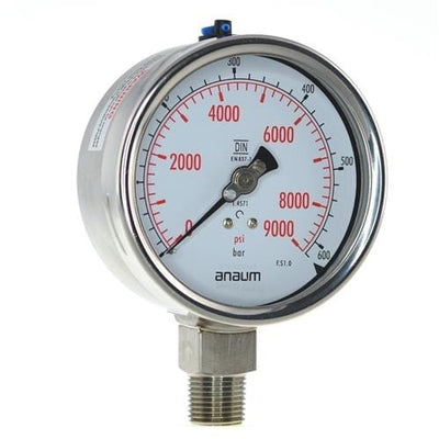 "Anaum SS3020 : Pressure Gauge - 100mm dia, 1/2"" NPT, 0~600bar"