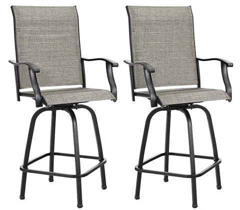 Swivel Outdoor Bar Stools Set of 2 Clearance, High Top Patio Chairs Patio Bar Stools Textilene for Bistro Lawn, Garden, Backyard All Weather Furniture Set, Gray