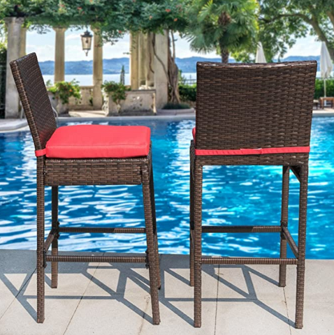 Sundale Outdoor Patio Stools & Bar Chairs, Outdoor Bar Stools Set of 2, 2 Piece Wicker Chairs Bar Chairs with Cushion Red, All-Weather Patio Furniture - Aluminum, Brown