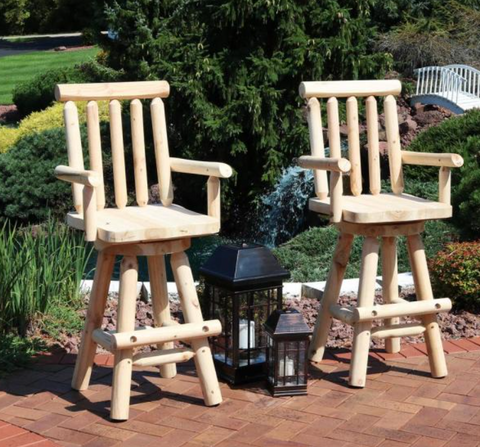 Rustic 29.5 in. Swivel Wood Log Style Outdoor Bar Stool (2-Pack)